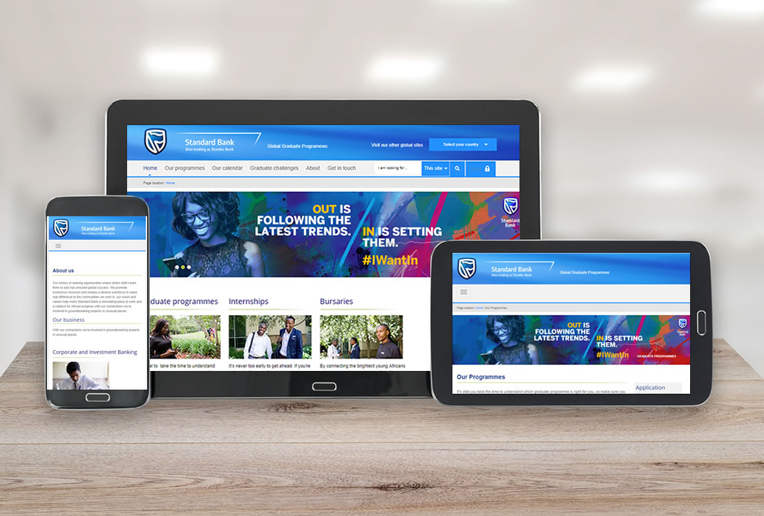 Standard Bank Graduate Website developed by Smudge